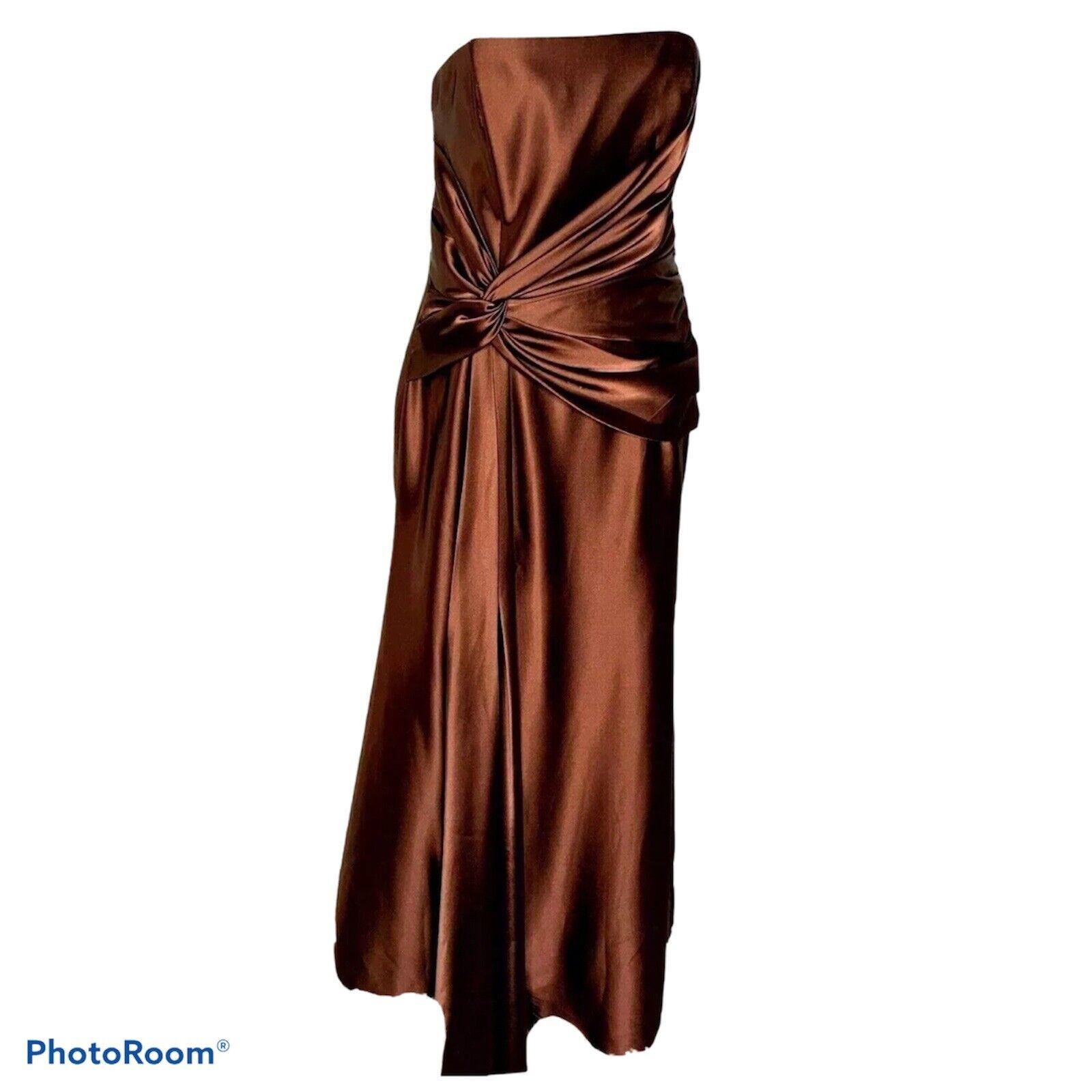 Jessica McClintock Bridal Cocktail Brown Strapless Satin Maxi Dress Size 12