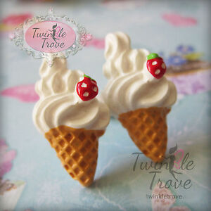 Funky Ice Cream Cherry Sundae Aretes Cute Kitsch Kawaii Retro Sweet Junk Food