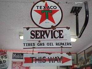 Antique-style-vintage-porcelain-look-Texaco-dealer-service-gas-pump-sign-set