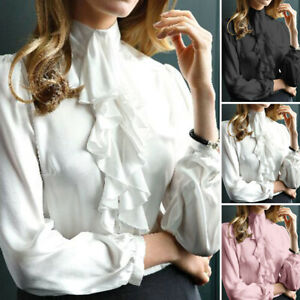 Women-Ruffle-Neck-Blouse-Shirt-Ladies-OL-Work-Office-Frill-Long-Sleeve-Top-8-20