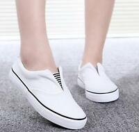 Unsiex Slip-on Canvas Shoes Pumps Plimsoles Girls Flat Ladies  Casual ^^