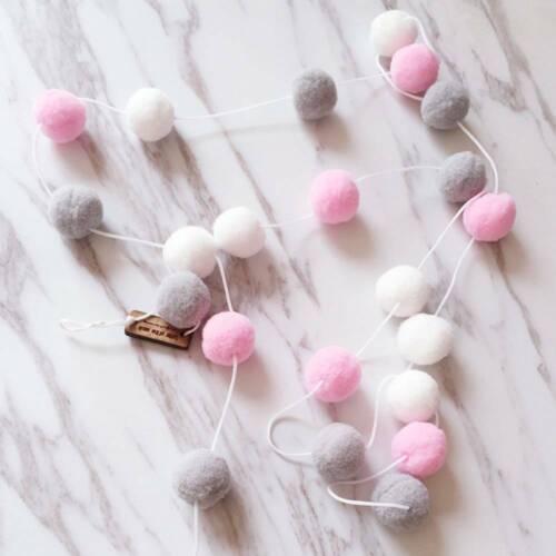2M Fluffy Pom-Pom Balls Felt Garland String Flags Home Party Xmas Embellishments