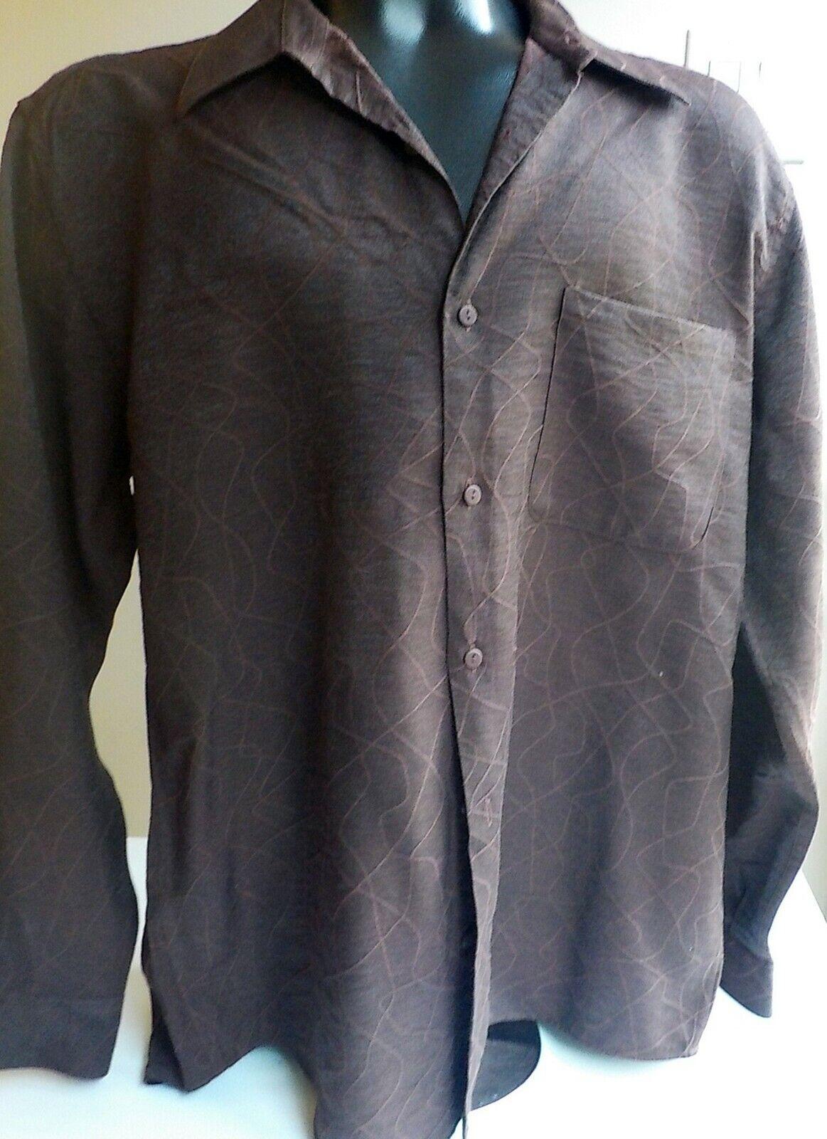 JHANE BARNES Deep Burgundy Wave Pattern  Long Sleeve Button Shirt Size LARGE