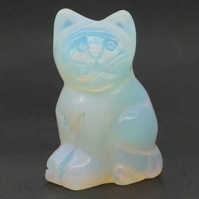 """2/"""" Opalite Crystal Hand-Carved Stone Cat Statue Crafts Healing Reiki Home Decor"""