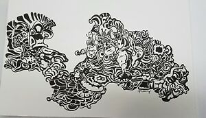 schneider original art pen and ink drawing abstract black white