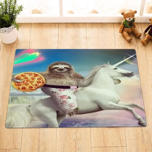 "Unicorn and Funny Sloth Holds Pizza Fabric Shower Curtain Set Bathroom Decor 72/"""