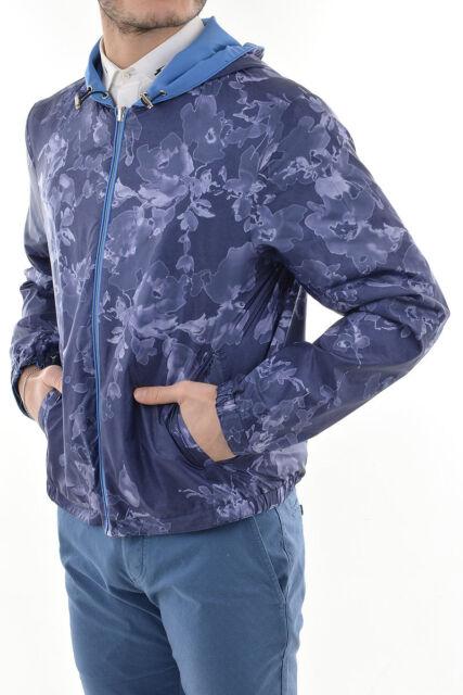 CORNELIANI New Man Reversible Floral Blue Jacket Windbreaker Bomber size 50 ita