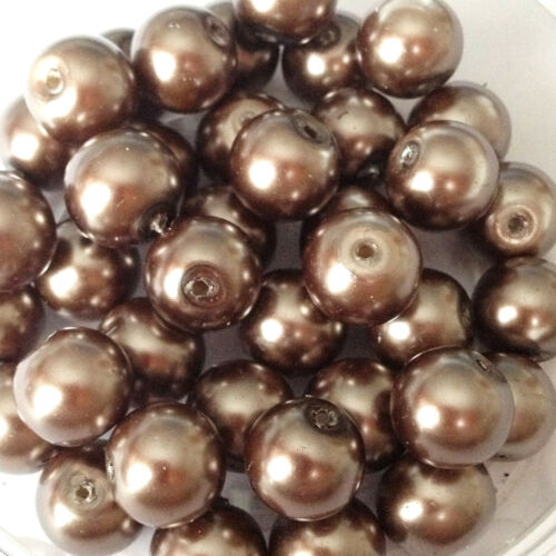 10mm Glass faux Pearls Espresso Brown 40 round pearl beads jewellery making