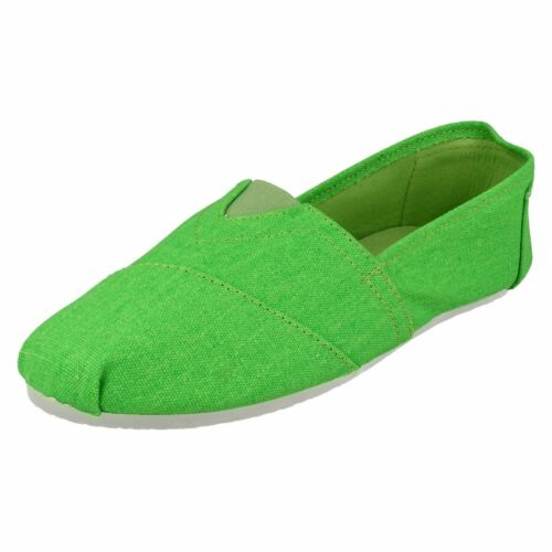Spot On F8R853 Ladies GreenCanvas Slip On Pump//Shoes R9B