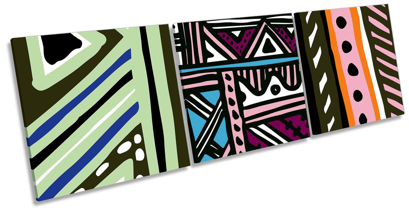 Modern Fresh Bold Set of 3 CANVAS WALL ART Print Treble Multi-Colourot