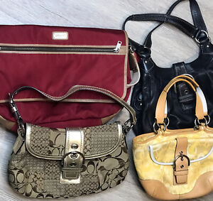 COACH-A-Lot-Of-4-Leather-Canvas-Multicolor-Purse-Shoulder-Bags-Resell-Rehab