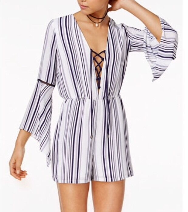 NWT  80 XOXO Striped Bell Sleeve Lace Up Romper Size Medium