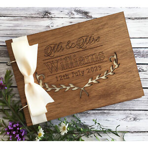 Personalised-Wedding-Anniversary-Guest-Book-Scrapbook-Album-Wooden-Mr-and-Mrs