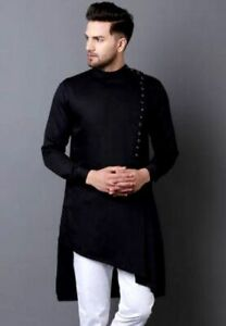 Indian-Cotton-Mens-Shirt-Long-Sleeve-Kurta-Loose-Shirt-Men-039-s-Cotton-Clothing