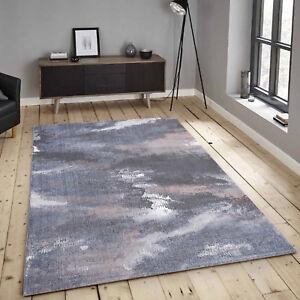 Teppich-aus-Micro-Polyester-Flachflor-Vintage-Blau-Modern-Meliert-Wohnzimmer