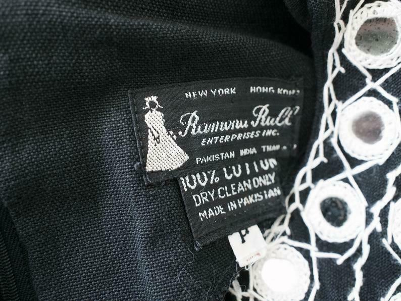 Ramona Rull Purple Cotton MIRROR Embroidery 60s B… - image 12