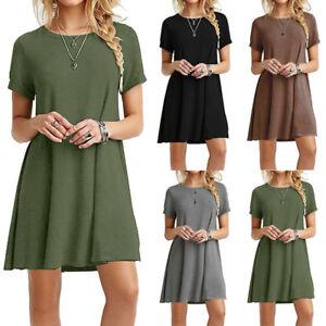 3a164792618d Solid Color Short Sleeve Dress Women Casual Slim Dress Summer T ...