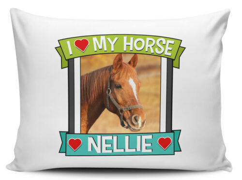 Cute Novelty Pillow Case Personalised I love My Horse Any Name /& Image