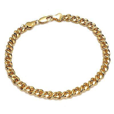 "Women/'s//Men/'s Bracelet 18K Yellow Gold Filled Chain 8/"" Link Fashion Jewelry"