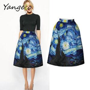a0e07dd1a Skirts High Waist Vintage Van Gogh Sexy Starry Sky Oil Painting 3D ...