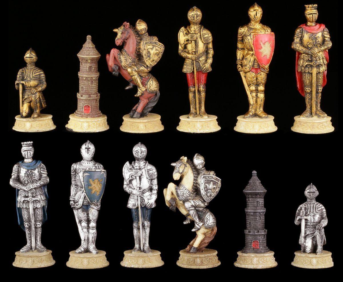 Schachfiguren Set - Ritter Gold- und Silberfarben - Mittelalter Schach Schach Schach Figuren 058c5f