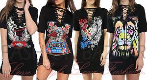 Womans-Vintage-Rock-Long-T-Shirt-Mini-Dress-Eyelet-String-Lace-Up-Neck-Tiger-Top