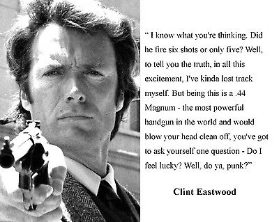 """/""""INSPECTOR /'DIRTY/' HARRY CALLAHAN/"""" QUOTE EASTWOOD 8X10 or 11X14 PHOTO AZ842"""