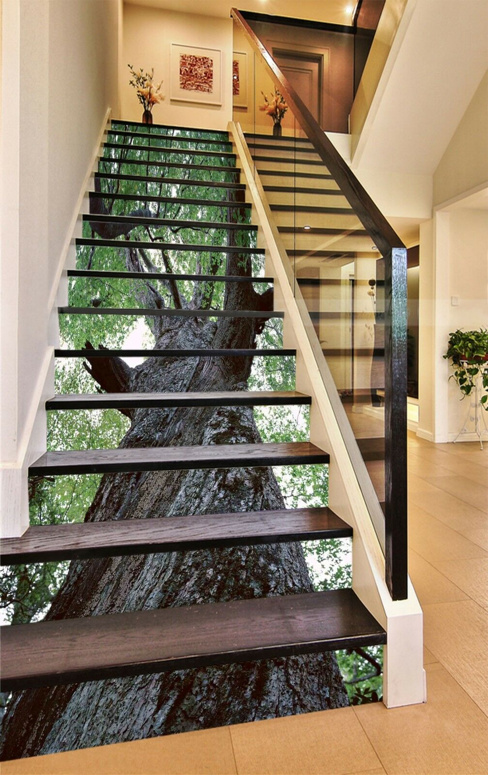 3D Trunk Leaves 3 Stair Risers Decoration Photo Mural Vinyl Decal Wallpaper CA