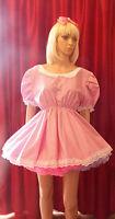 Unisex Short Gingham Adult Baby Dress ,sissy Fancy Dress Lolita Cosplay