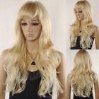 Women Wavy Bangs Cosplay Long Wavy Mix Light Blonde  Hair Full Wig
