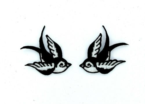 2x Patch patches embroidered iron on backpack biker bird raven sparrows