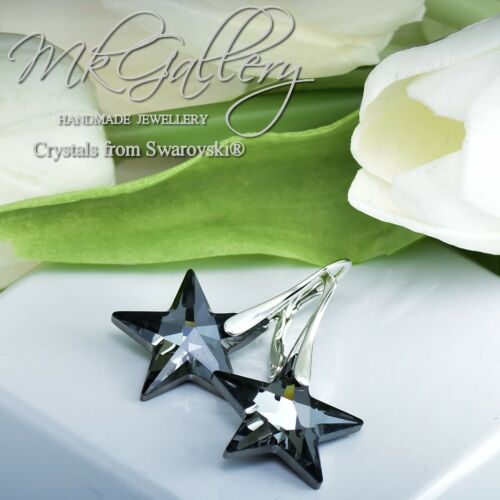 925 Sterling Silver Earrings STAR Silver Night 20mm Crystals from Swarovski®