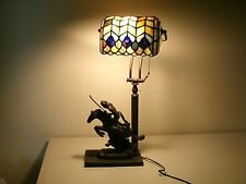 Frederic Remington Reproduction Statue Tiffany Style Stain Glass Desk Lamp