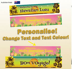 personalised tropical hawaiian luau birthday party decorations canvas banner ebay. Black Bedroom Furniture Sets. Home Design Ideas