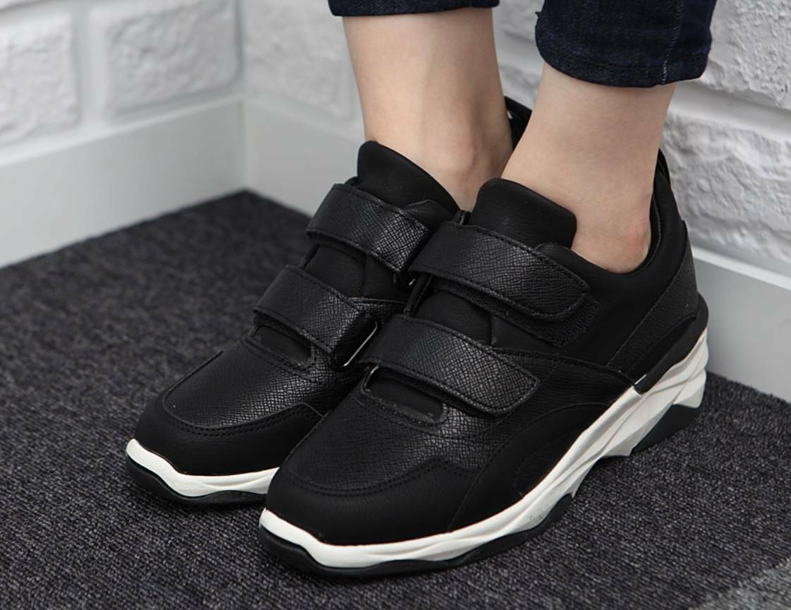 New Women Casual Casual Casual Leather Wedge Heel Strap Fashion Sneaker Walking shoes f475f5