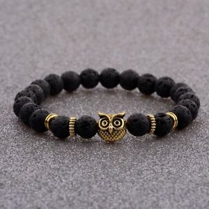Natural-Stone-Lava-Beads-Diffuser-Energy-Gold-Owl-Head-Women-Men-Bracelets-New