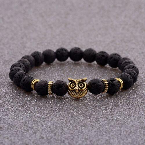 Pierre naturelle Lava Perles Diffuseur Energy Gold Owl Head Femmes Hommes Bracelets NEUF