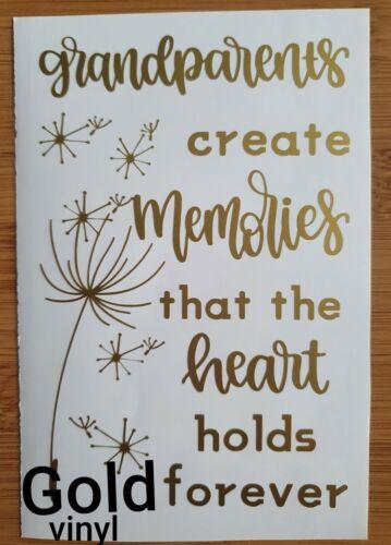 Grandparent memories heart sentiment love Wine bottle vase vinyl decal sticker