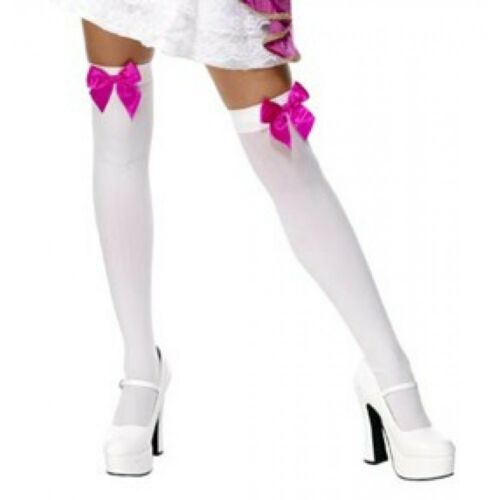 Long WHITE OPAQUE SOCKS Knee//Thigh High with HOT PINK Bows COSTUME FREE POST