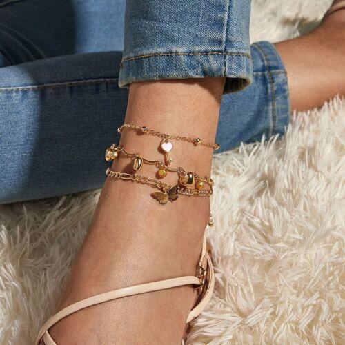 Details about  /4Pcs Boho Heart Butterfly Ankle Bracelet Women Anklet Chain Foot Beach Jewelry