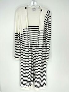 Cabi Womens White Navy Striped Long Sleeve Open Duster Cardigan Sweater Size M