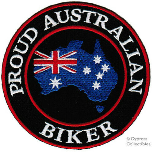 PROUD AUSTRALIAN BIKER embroidered PATCH AUSSIE FLAG iron-on SOUVENIR PRIDE new