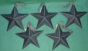 Hearthside-Collection-5-034-Black-Metal-Accent-Stars-Set-of-5-NEW-Primitive-Country