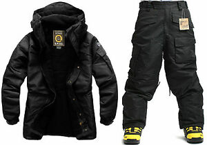 SOUTHPLAY Winter Premium All Black  Military Ski-Snowboard Jacket + Pants SET