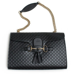 2f18b96f3600 Image is loading Gucci-Emily-Micro-GG-Black-Guccissima-Leather-Shoulder-