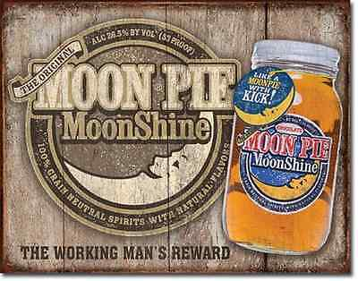 Moon Pie whiskey TIN SIGN rustic prim moonshine home brew bar wall decor 2062