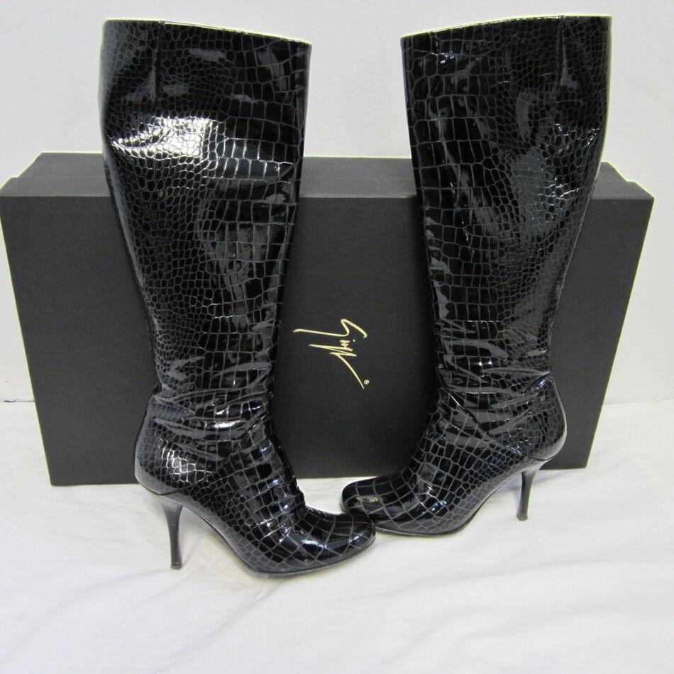 prezzo più economico GIUSEPPE ZANOTTI nero nero nero snakeskin heel stivali 35  shopping online e negozio di moda