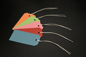 25-ASSORTED-COLOURED-STRUNG-TAGS-96MM-X-48MM-TIE-ON-GIFT-PARCEL-LABELS