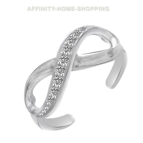10K Solid White Gold Diamond Infinity Adjustable Toe Free Size Ring