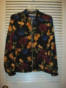 Susan-Graver-Floral-Zip-Front-Bomber-Jacket-Black-Gold-Colorful-Fall-Size-M